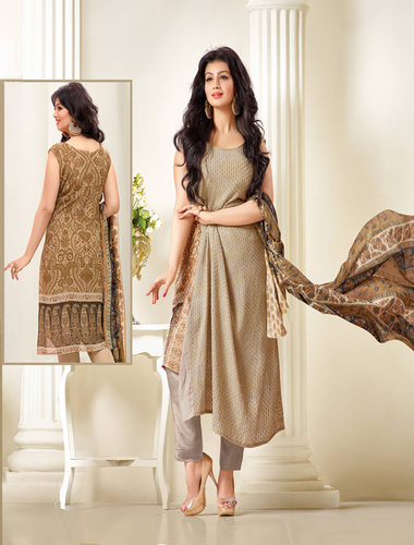 Exclusive Embroidered Designer Beige Straight Suits