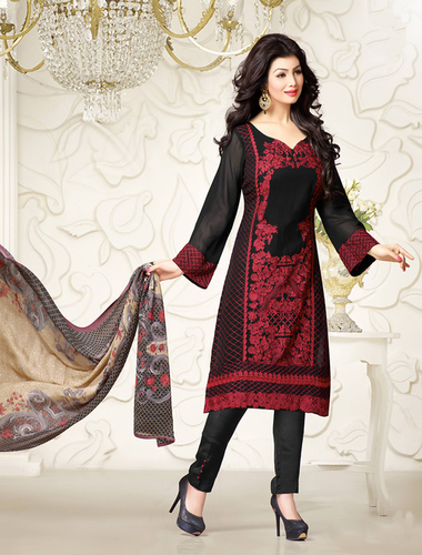 Exclusive Embroidered Designer Black Straight Suits