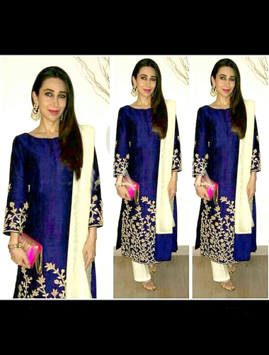 Exclusive Embroidered Designer Blue Straight Suits