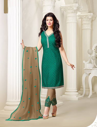 Exclusive Embroidered Designer Green Straight Suits