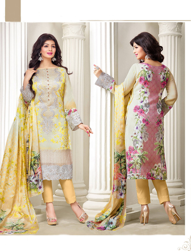 Exclusive Embroidered Designer Yellow Straight Suits