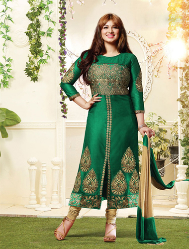 Green And Beige Cotton Straight Suit