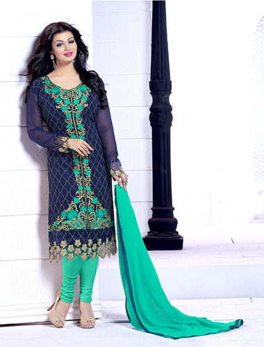Navy Blue And Green Heavy Embroidery Straight Suit