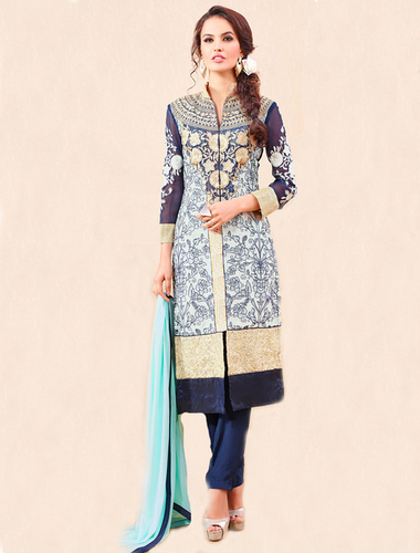 Navy Party Wear Straight Suit
