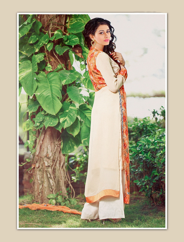 Orange And Cream Georgette Party Wear Straight Suit