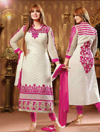 Pink And White Cotton Straight Suit