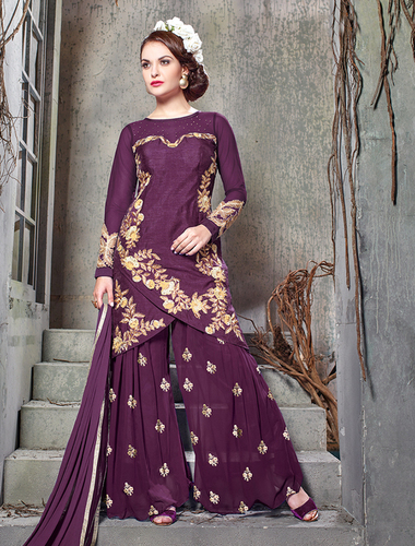 Purple Bhagalpuri Silk With Embroidery Straight Suit