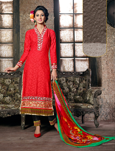 Red Cotton Jaquard Party Wear Straight Suit