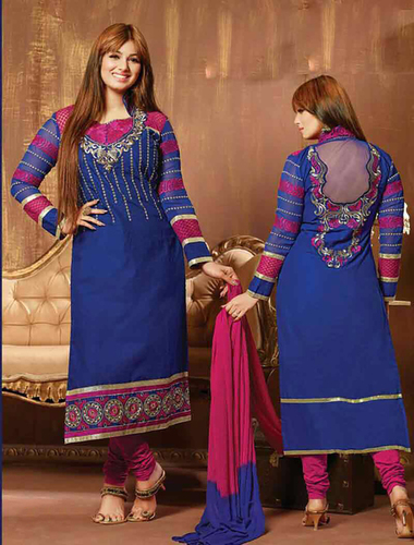 Thankar Blue And Pink Cotton Straight Suit