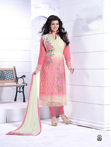 Thankar Off White And Pink Heavy Embroidery Straight Suit