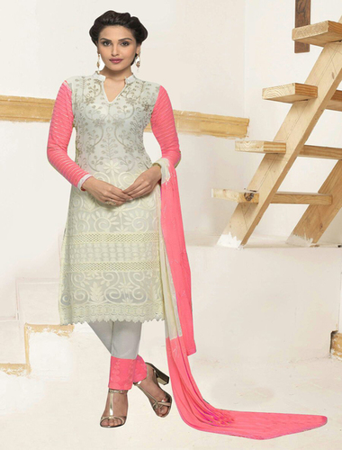 White And Pink Chiffon Straight Suit