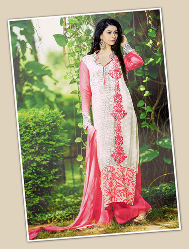 White And Pink Georgette Party Wear Straight Suit