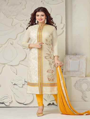White And Yellow Chanderi Cotton Straight Suit