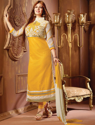 Yellow And Off White Cotton Straight Suit