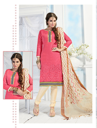 Pink And Cream Chanderi Embroidery Straight Suit