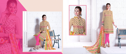 Beige And Pink Chanderi Embroidery Straight Suit