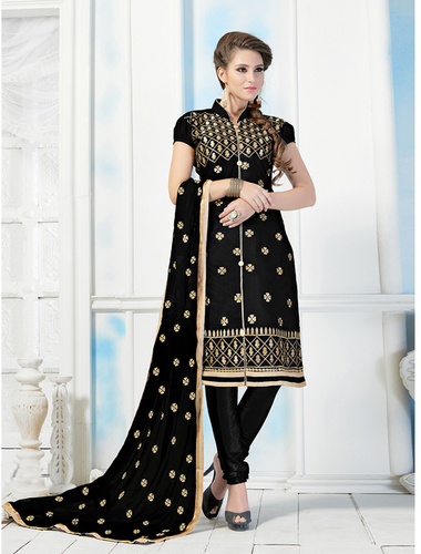 Black Chanderi Embroidery Straight Suit