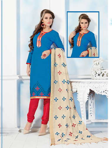 Blue And Red Chanderi Embroidery Straight Suit