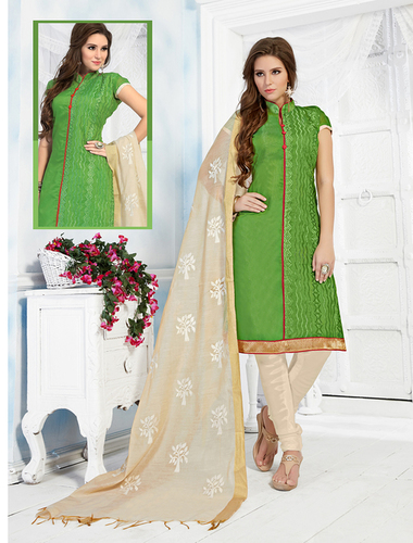 Green And Cream Chanderi Embroidery Straight Suit