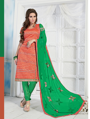 Green And Orange Chanderi Embroidery Straight Suit