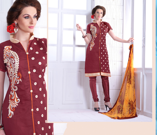 Maroon Chanderi Embroidery Straight Suit