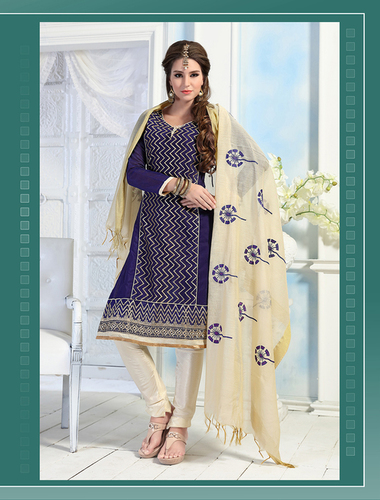 Purple And Cream Chanderi Embroidery Straight Suit