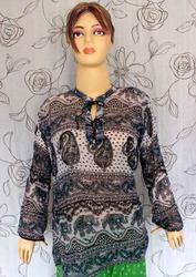 Printed-Peasant-Top-Gypsy-Boho Cotton Top