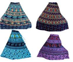 Screen Print Hippy Boho Around Long Skirt