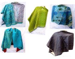 Silk Patchwork Reversible Unique Shawls