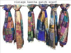Silk Reversible Handmade Multi Patch Kantha Work Shawl