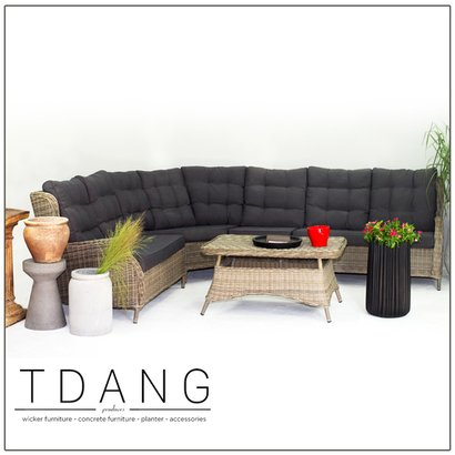 Hanna 5 Pieces Seating Sofa Set With Black Cushions