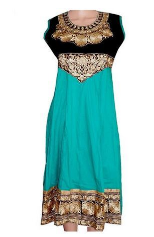 Gorgeous Anarkali Style Embroidered Sea Green Kurti