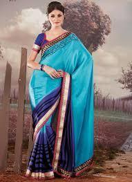 Blue Satin Sarees with Border