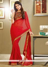 Red Fancy Georgette Sarees