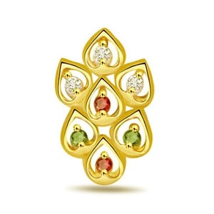 Leaves of Desire Fancy Diamond ,Ruby and Emerald Pendant