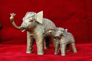 Metal Gift Decorative Elephant With Baby