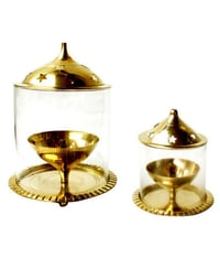 Brass Polished Diya With Borosil Glass Pipe