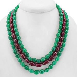 Ruby Panna And Mani String Necklace