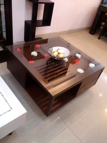 Square Wooden Center Tables With Storage