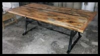 Cast Iron Table with Wood Top
