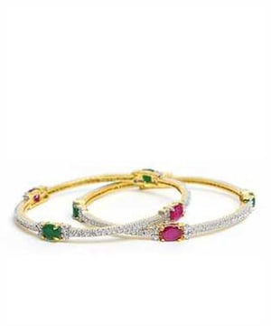 Ruby and Emerald bangles