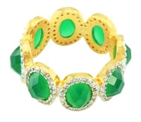Emerald Look Stone & CZ Gold Plated Ring