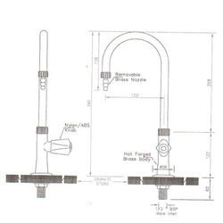 Single Swan Goose Neck Water Taps Sketch