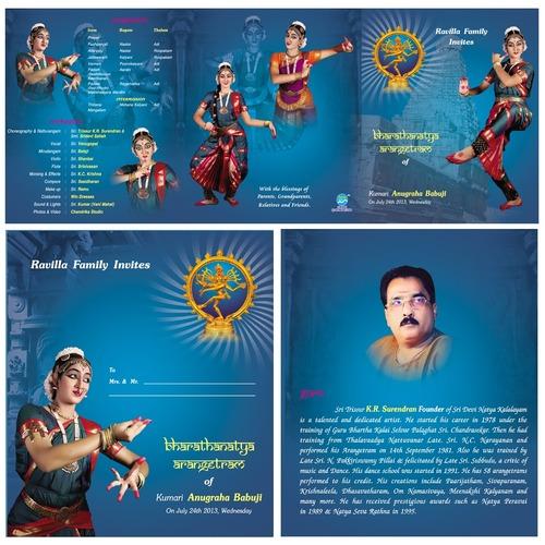 Arangetram Invitation Card in Chennai Tamil Nadu MAJESTIC CARDS
