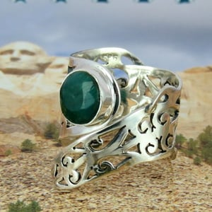 Dyed Emerald 925 Sterling Silver Rings