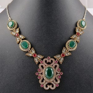 Victorian Design Multi Gems 925 Sterling Silver Necklace With Brass