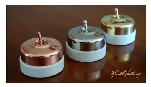 Porcelain Satin Brass Electrical Switches