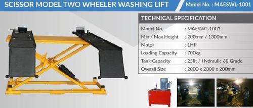 Scissor Model Two Wheeler Washing Lift
