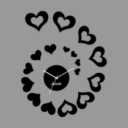 Modern Creative Hearts Shape Decorative Mirror Wall Clock