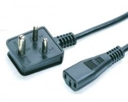 Power Cord with 3 Pin Plug with Straight Connector